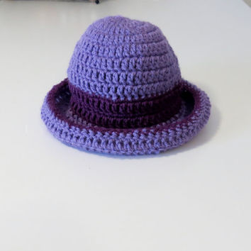 Crochet summertime purple sunhat, baby sunhat, baby summer hat, girl sunhat, girl summer hat, rolled brim sunhat, purple sunhat with brim