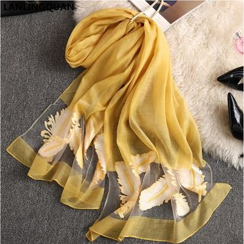 Hijab Desigual Bandana Solid Scarf Luxury Brand 2018 Fashion Women Spring Autumn Silk Scarves Embroidery Scarves Lovely Pashmina