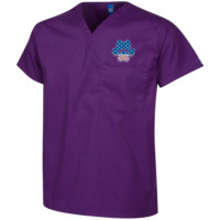 Paw Print Horizon  Embroidered Scrub Top