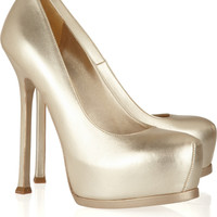 Yves Saint Laurent Tribtoo metallic leather pumps – 50% at THE OUTNET.COM
