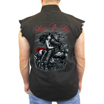 Men's Sleevless Denim Shirt Ride or Die Biker Skeleton