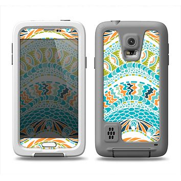 The Vector Teal & Green Snake Aztec Pattern Samsung Galaxy S5 LifeProof Fre Case Skin Set
