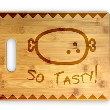 So Tasty Meat! Cute Funny Laser Engraved Bamboo Cutting Board - Video Game, Iconic, Wedding, Housewarming, Anniversary, Birthday, Gift (Horizontal)