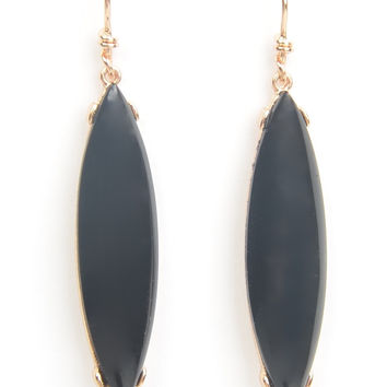 Black Enamel Elongated Oval Earrings