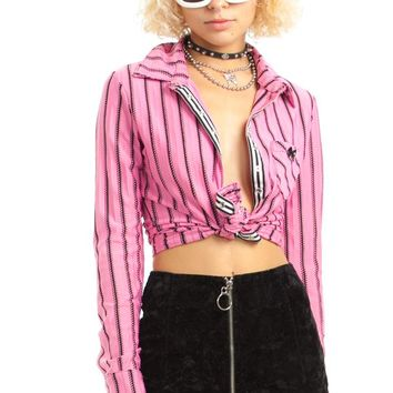 Vintage Y2K Pink Eyelet Stripe Button-Up - XS/S