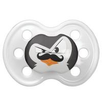 Cute Black  White Penguin And  Funny Mustache Baby Pacifiers from Zazzle.com
