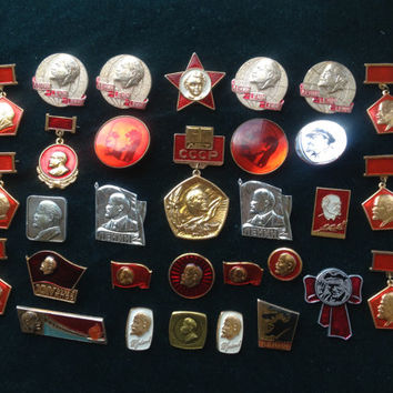 Set of 31 Soviet vintage Lenin Komsomol communist pin ussr collectibles collector