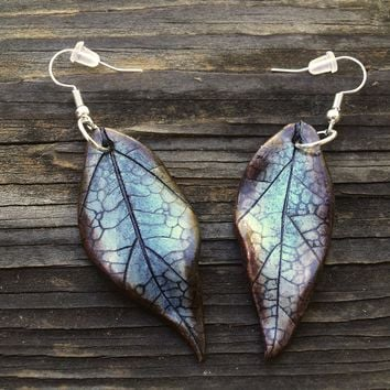 Sea Blue Leaf Earrings