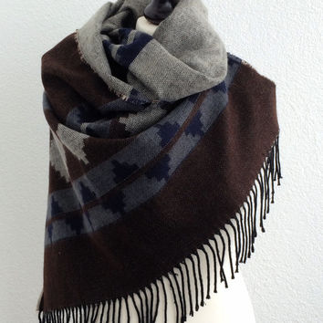 Winter Scarf and Shawl, Brown, Dark Blue and Gray Blanket Scarf, Tribal Kilim Aztec Unisex Scarf, Designscope