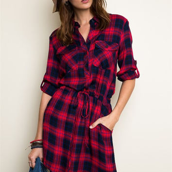 Plaid Shift Dress - Red/Navy