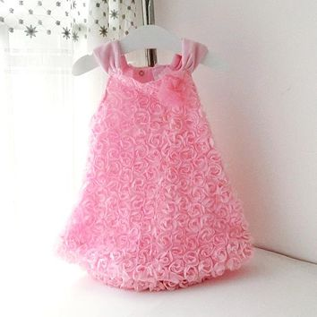 Summer Style Baby Girls Dress Infantil Sleeveless Rosette Flowers Dresses Princess Baby Girl Suspender Dress Kids Clothes