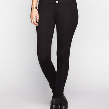 Almost Famous Ponte Knit Highwaisted Skinny Pants Black  In Sizes