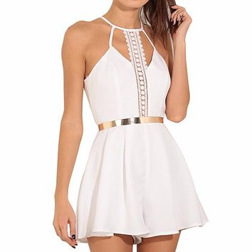 Fashion White Womans Dresses New Solid Lace Sling Vest Rompers Ladies Clothes Mini Dress