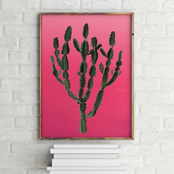 CACTUS DECOR Arizona South Western Desert Art Print Plant Print Wall Art Decor Mother In Law Tongue Cactus Print Cactus Art Hot Pink Mexican
