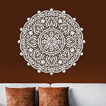 Wall Decal Mandala Ornament Geometric Indian Moroccan Pattern Namaste Lotus Flower Yoga Vinyl Sticker Bedroom Boho Bohemian Decor NS1800 (17x17)