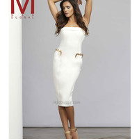 Mac Duggal 30063 Ivory Strapless Purse Pocket Fitted Scuba Dress 2015 Homecoming Dresses