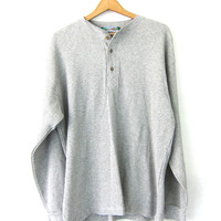 Vintage Gray Long sleeve long Underwear top. minimal look Thermal  button front shirt / basic henley /  COED shirt Size Large