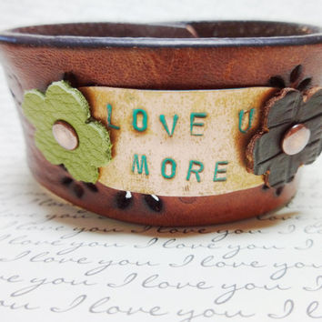 Leather Cuff, Stamped Metal, Stamped Copper, Leather Bracelet, Love Bracelet, Birthday Gift, Boho Bracelet, Hippie Bracelet, Flower Jewelry