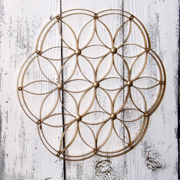 Gold Geometric Metal Wall Decor~Wrought Iron Wall Art~Flower Geometric Art