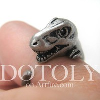 Dotoly | 3D T-Rex Dinosaur Animal Ring in Silver - Sizes 5 to 9 | Online Store Powered by Storenvy