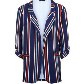 Blue Multi Stripe Blazer | New Look