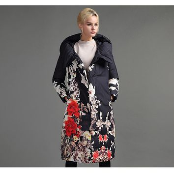 Floral Print Padded Long Parka Coat