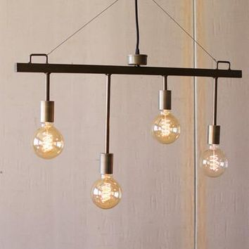 Raw Metal & Brass Pendant With 4 Lights