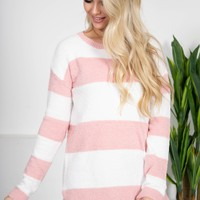 Pink Dreams Striped Sweater
