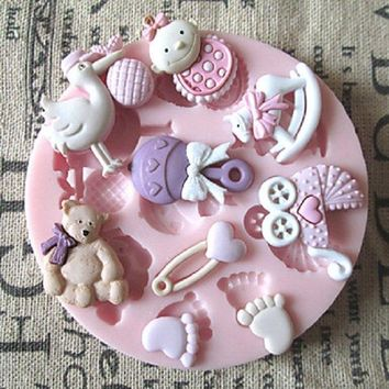 3D Bear Feet Baby Toy DIY Silicone Chocolate Mold Fondant Sugar Craft Molds