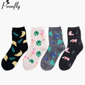 PEONFLY  happy funny women Socks  Cartoon Hit Color Personality Lovers Tide  Cotton animal Flamingo Blueberry banana foxes Socks