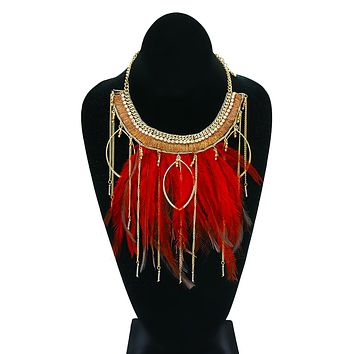 Collar Necklace with Burgundy Feathers, Rhinestones, Beads, and Drop Chains