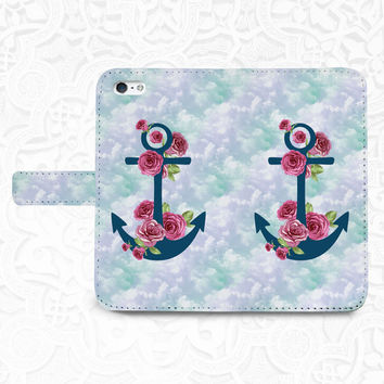 Anchor Floral iPhone/smartphone flip PU leather Wallet case for iPhone 6, 6 plus, 5, 5s, 5c, iPhone 4, 4s- Samsung, Nexus 6, HTC M9