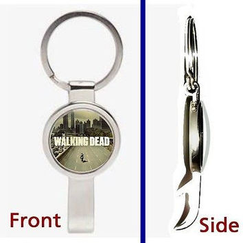 The Walking Dead Zombie Pennant or Keychain silver tone secret bottle opener