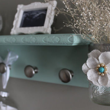 seafoam green coat rack, shelf with knobs, mason jar shelf, wall vase, key holder, jewelry organizer, french cottage, home decor shelf