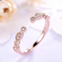 Rose Gold CZ Diamond Open Wedding Band