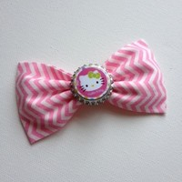 Hello Kitty pink chevron handmade fabric hair bow from Bowlicious Divas Bowtique