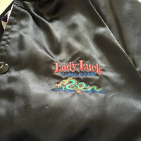 Satin Bomber Jacket Dragon Embroidered Lady Luck Casino 80's Vintage