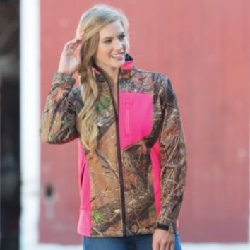 Colorful Camo Zipper Jacket Pink