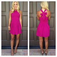 Cross Bow Dress - MAGENTA