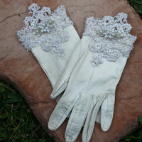 Vintage kid leather gloves up cycled with lace by BeSomethingNew