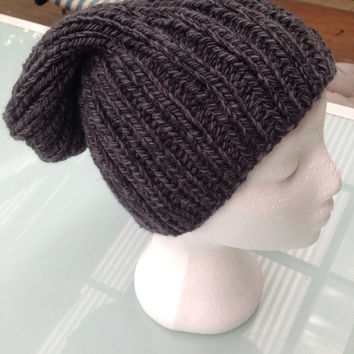 Handmade unisex knitted grey beanie, slouch hat, mens beanie, ladies beanie, slouchy beanie