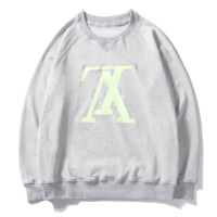 Louis Vuitton LV Fashion New Bust Embroidery Letter Couple Long Sleeve Top Sweater Gray