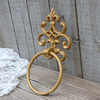 Towel Holder, Shabby Chic, Gold, Hand Painted, Cast Iron, Metal, Distressed, Towel Ring, French Decor