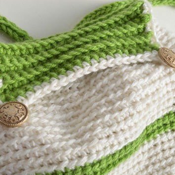 Children's handmade designer stylish crochet backpack of white and green colors