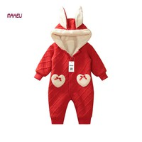 Christmas Clothes Cute Baby Winter Romper Red Rabbit Newbron Baby jumpsuit Cotton Baby Clothes