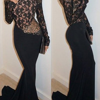 Round Neck Long Sleeve Backless Spliced Maxi Dress