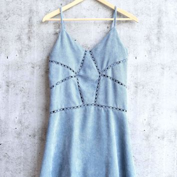 cami corduroy dress - dusty blue