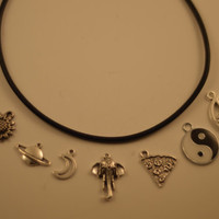 Choose Your Charm Custom Leather Choker 90's Necklace (Yin Yang-Moon-Saturn-Pizza-Flower-Spider-Elephant-Pentagram)