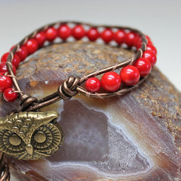 Red Wrap Bracelet, Single Leather Wrap, Red Bamboo Coral, Red Beaded Wrap, Owl Button Closure