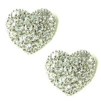Small Cubic Zirconia Pave Heart Shaped Stud Earrings
